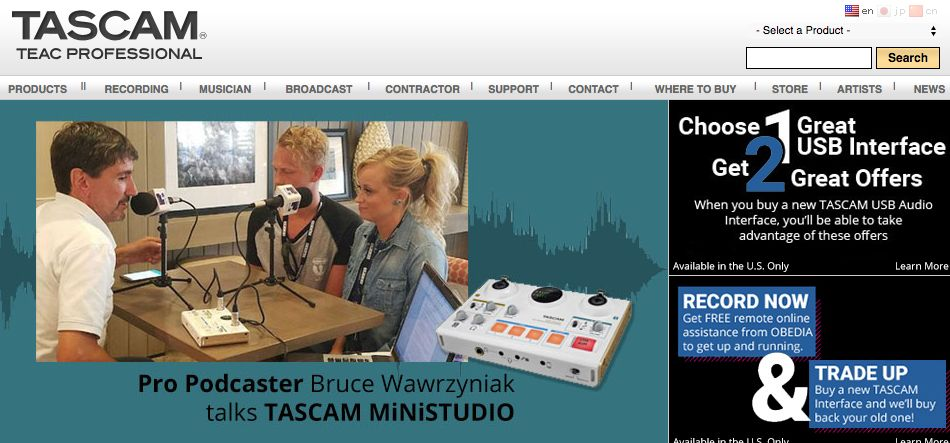 Tascam homepage teaser
