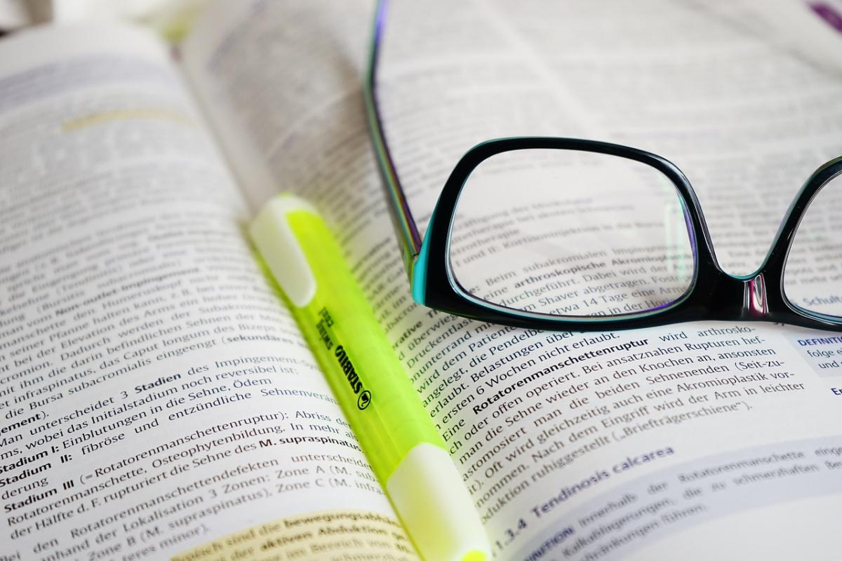 Open book with highlighter
