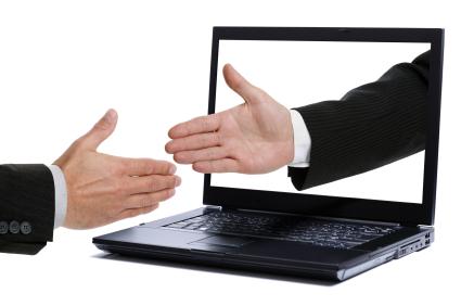 Handshake through computer screen