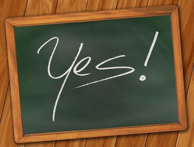 Yes written on chalkboard